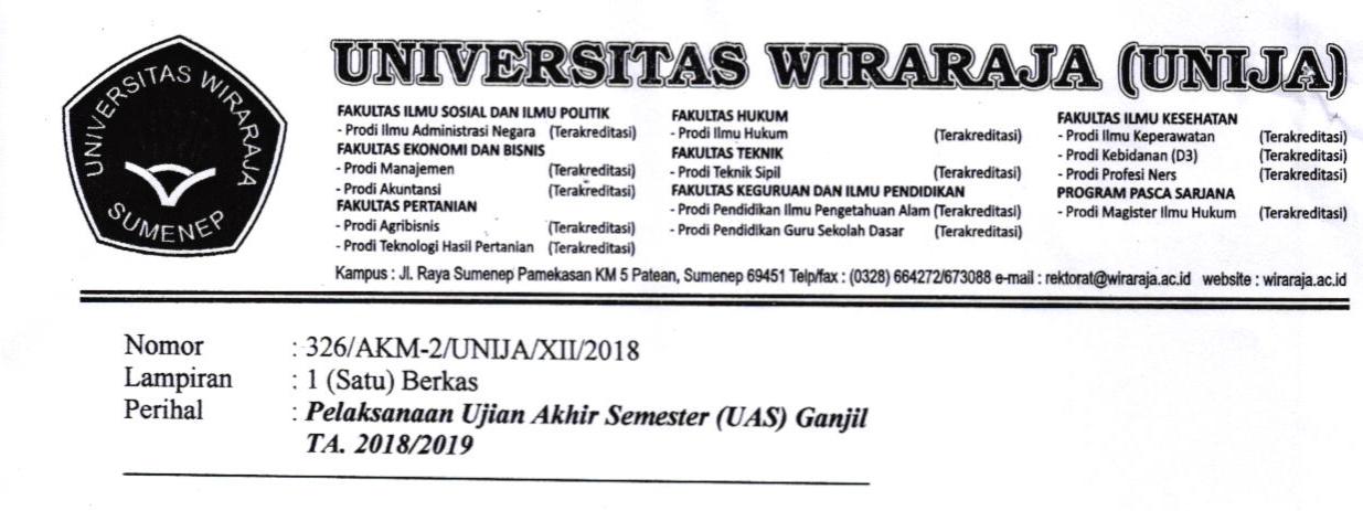 JADWAL UJIAN AKHIR SEMESTER (UAS) GANJIL 2018-2019