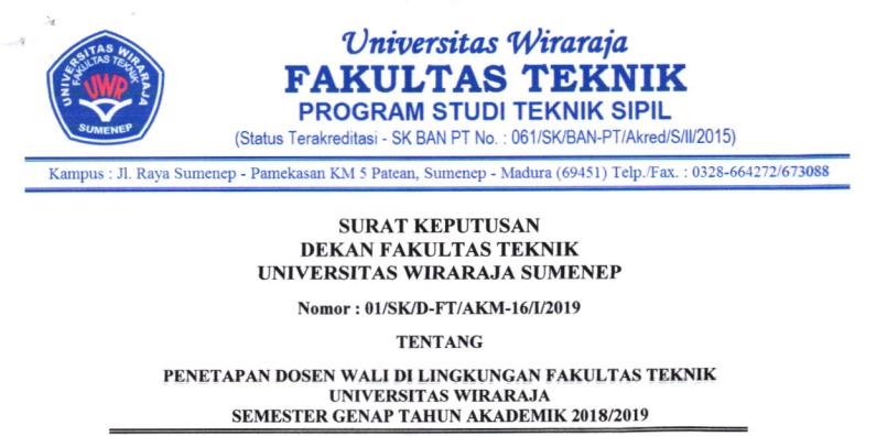 PENETAPAN DOSEN WALI FAKULTAS TEKNIK SEMESTER GENAP TA. 2018-2019